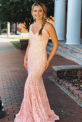 Lace Formal Evening Dresses  V-Neck Mermaid Glamorous Appliques Sleeveless Prom Dress Cocktail Party Gowns Celebrity Gown