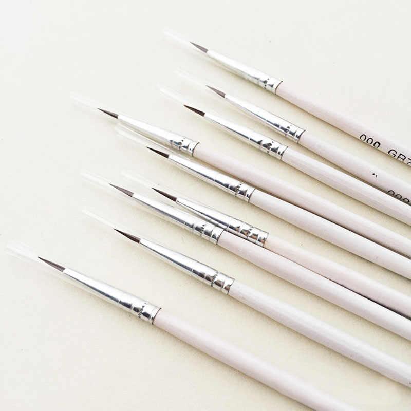 6 ピース/セット罰金手描き薄型フックラインのペン描画アートペン #0 #00 #000 ペイントブラシ画材ナイロンブラシ絵画ペン