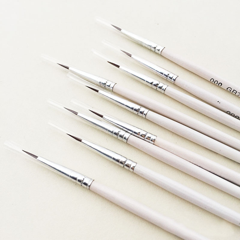 6Pcs/Set Fine Hand-painted Thin Hook Line Pen Drawing Art Pen #0 #00 #000 Paint Brush Art Supplies Nylon Brush Painting Pen(China)