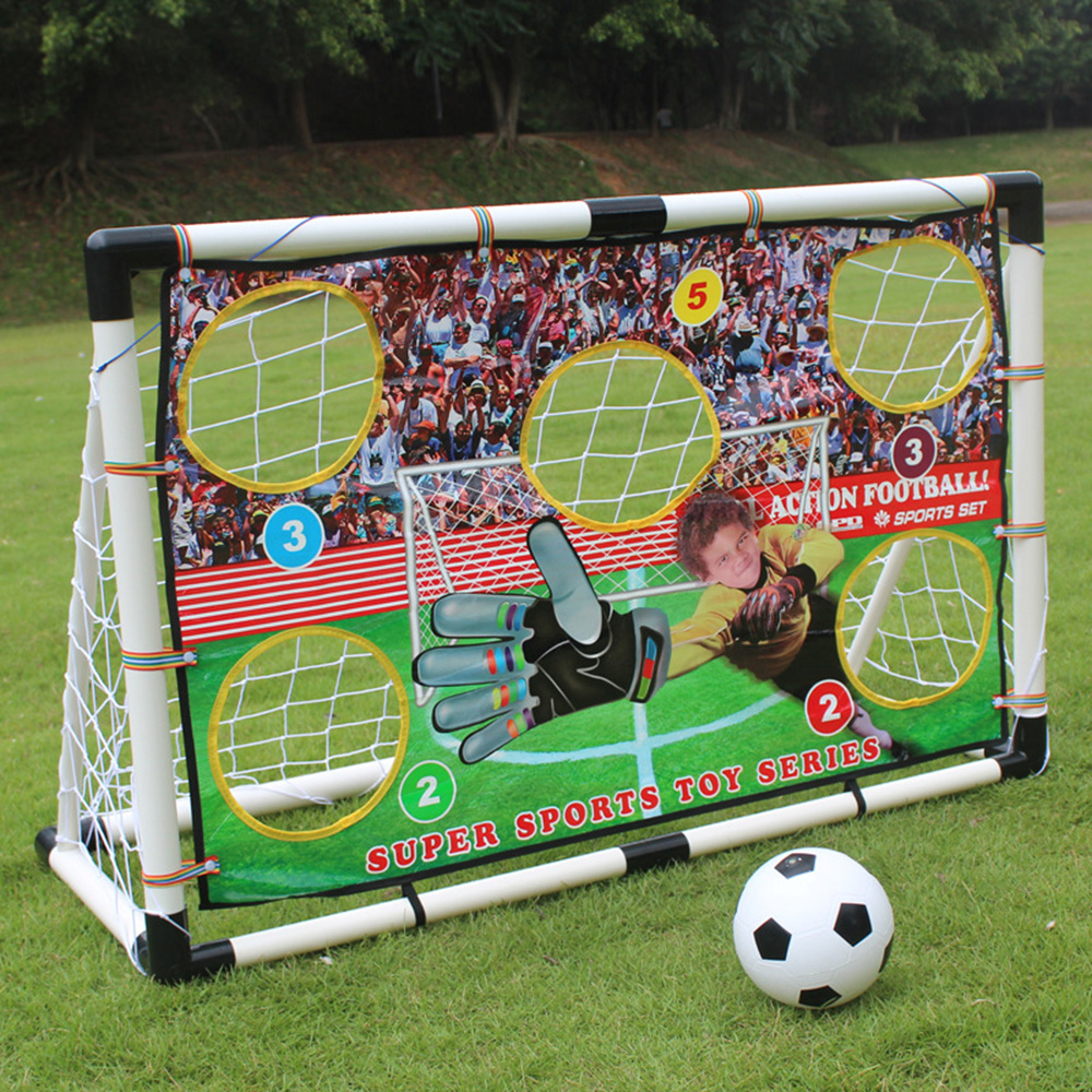 New Kids Children Football Gate Plastic Soccer Training Net Goal Gate With Keeper Cloth Portable Soccer Ball Practice Gate inflatable football field shooting soccer goal kicking gate game l6mxh3m for children kids party sport games toy