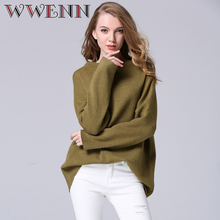 WWENN Autumn Wide Sleeve Sweater Green For Women Slash Neck Collar Pullover Knitting Tops Sueter Mujer Jumper Loose Sweater