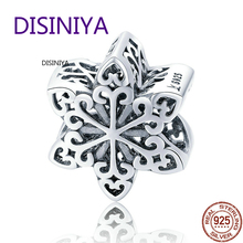 DISINIYA  Genuine Sterling Silver 925 Elegant Snowflake pierced Beads Fit Charm Bracelets and Necklace DIY Jewelry Women scc719
