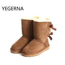 2016 manera de la Alta Calidad impermeable de cuero de piel de Oveja genuina Australia nieve botas de Piel Reales 100% de Lana de invierno de las mujeres botas de nieve