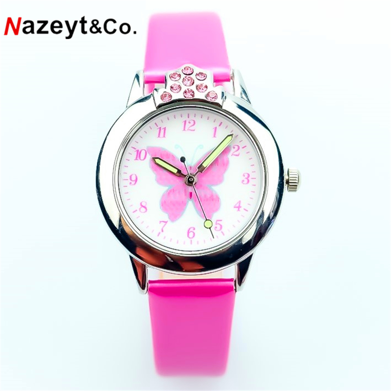Nazeyt Kids Cartoon Watch Girls Lovely Butterfly Dial Luminous Hands Crystal Leather Clock With Diamond Children's Day Gift