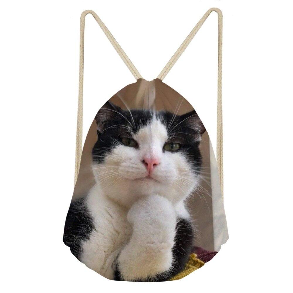 3D Animal Cat Funny Printing Fashion Women Drawstrings Bags Brand Design Light Strap Travel Storage Backpack