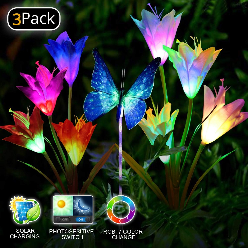 Outdoor Solar Garden Flower Stake Lights 2 Pack Solar Powered Lights with 8 Lily Flower Color Changing LED Solar Landscape Lighting Light for Garden Patio Pathway