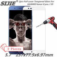 2 pcs Completa cobertura de tela de Vidro Temperado Para HUAWEI honor 8 pro V9 8pro do smartphone protetora temperado preto azul ouro Branco
