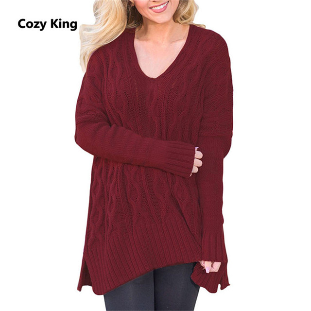 f441fdaa0f2 Cozy King women sweater 2018 new winter plus size loose v-neck long-sleeved  fancy knit pullover women s pure color warm sweater