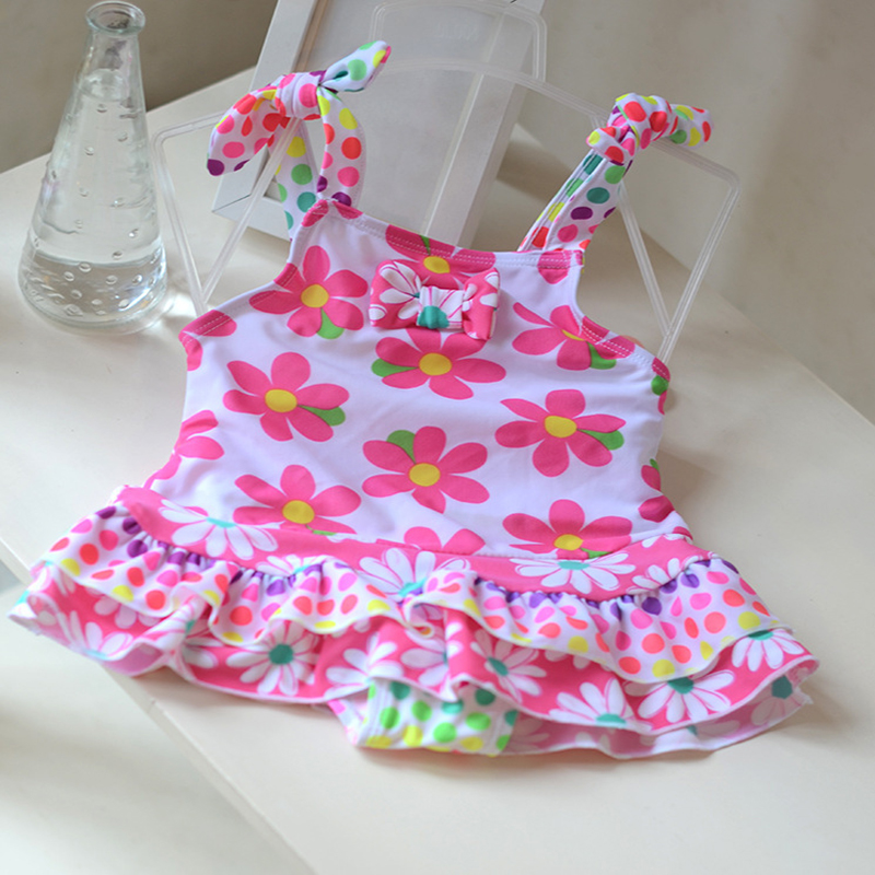 2017 Baby swimwear print floral bow one piece swimsuit for baby girls lovely princess bathing suit baby kids infant beachwear childrendlor baby brocade floral print