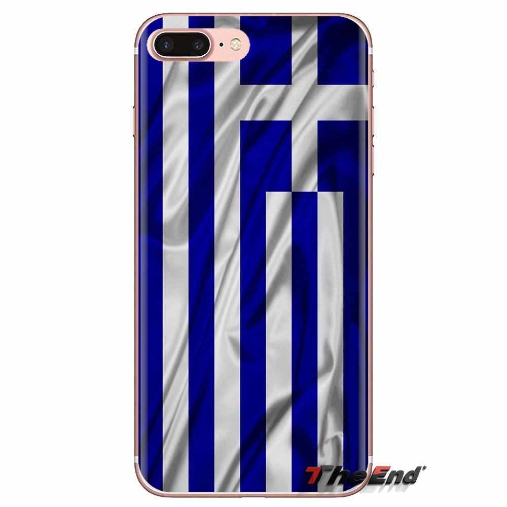 لينة شفافة الجلد حقيبة لهاتف سامسونج غالاكسي S3 S4 S5 البسيطة S6 S7 حافة S8 S9 S10 زائد ملاحظة 3 4 5 8 9 GR اليونانية اليونان العلم راية
