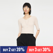 Toyouth Women Knitted Top V Neck Half Sleeve Basic Casual Female Knitted Sweater v neckline basic top