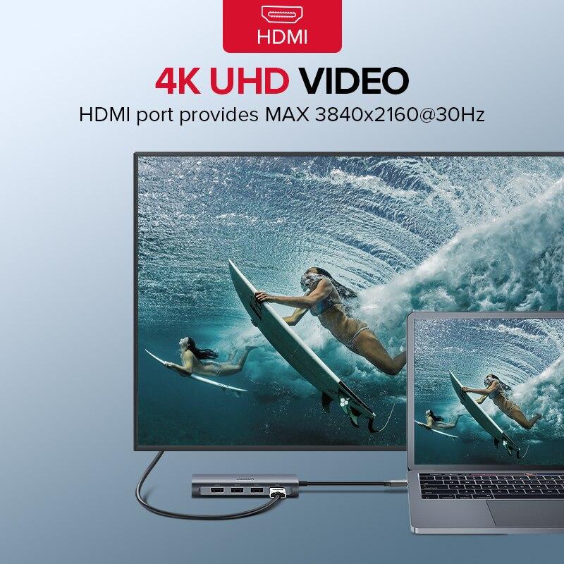 Ugreen Thunderbolt 3 station d'accueil USB Type C à 3.0 HUB HDMI Type-C convertisseur pour macbook Huawei Compagnon 20 P20 Pro USB-C Adaptateur - 2