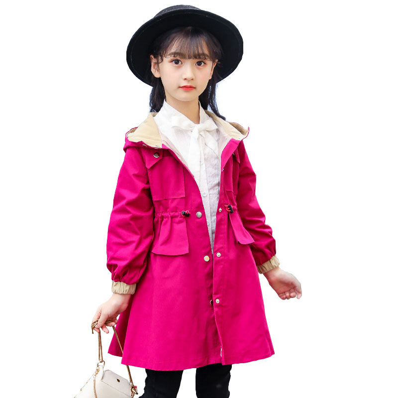 Spring Autumn Girls Jackets Casual Kids Hooded Outerwear Fashion Teenager Children Windbreaker Girls Coat 4 6 8 10 12 13 Years 0 4 years old children girls jackets cotton autumn hooded windbreaker baby girls korean style solid color coat