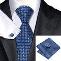 2016 Formal Azul Marino A Cuadros Azul Claro Geométrica Corbata Seda Wedding Party Negocios Corbata Hanky Gemelos Set C-505