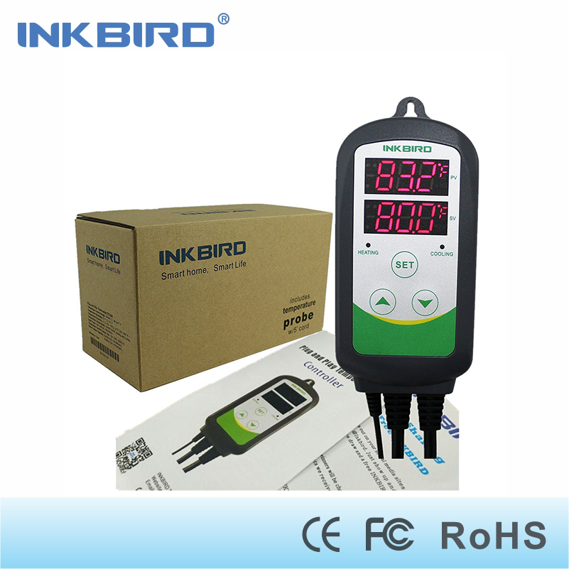 Inkbird Itc-308 Digital Temperature Controller Outlet Thermostat heat and cool , Carboy, Fermenter, Greenhouse Terrarium Temp. inkbird itc 308 eu plug digital temperature controller thermostat regulator dual relays 1 heating
