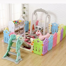 цена Portable Foldable Baby Playpen Indoor Kids Fence Plastic Ball Pool Toys For Children Safety Baby Bed Fence Baby Room Barrier онлайн в 2017 году