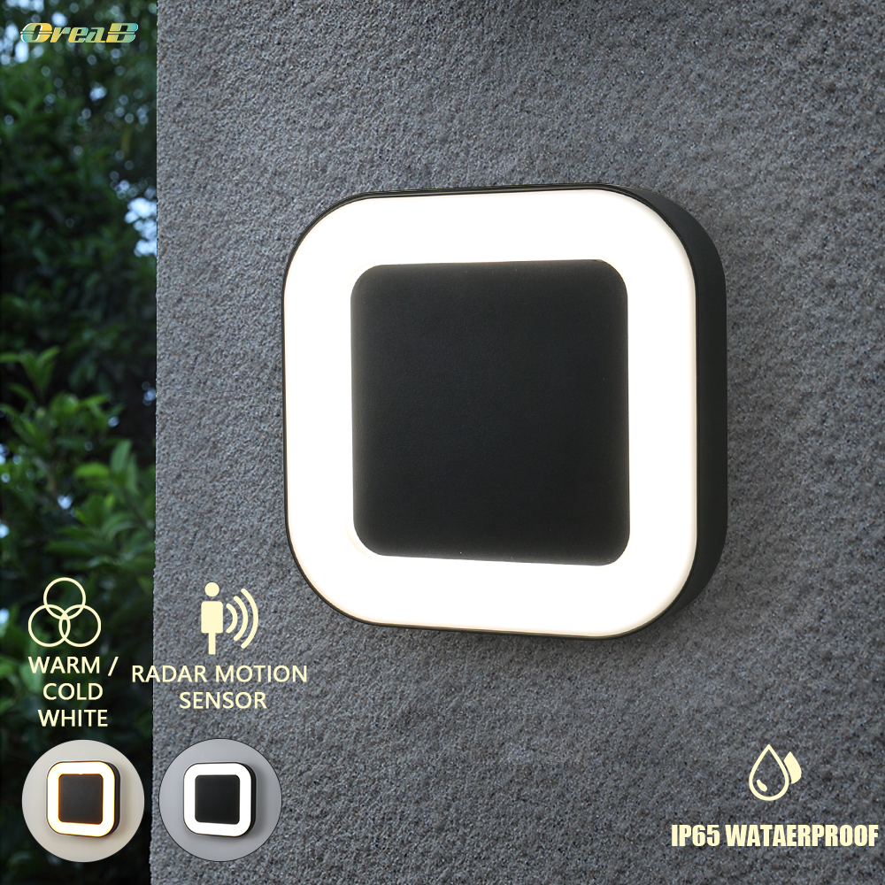 Light Control 20w Ip65 Waterproof Exterior 40 Led Outdoor Wall Light Motion Sensor 3 Light Color Changeable Garden Wall Lamps