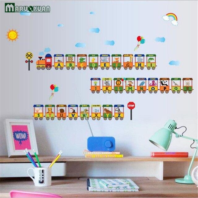 Decoratie Stickers Kinderkamer.Maruoxuan 26 Engels Letters Dier Kleine Trein Stickers Kinderkamer