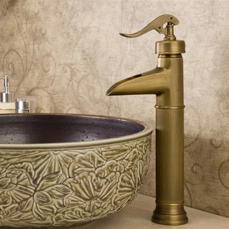 Unique Design Countertop Vessel Sink Basin Faucet Antique Brass Deck Mounted Bathroom Sink Mixer Taps GZ8006 free shipping deck mount tall countertop basin vessel sink faucet single handle waterfall mixer taps antique brass 7005f