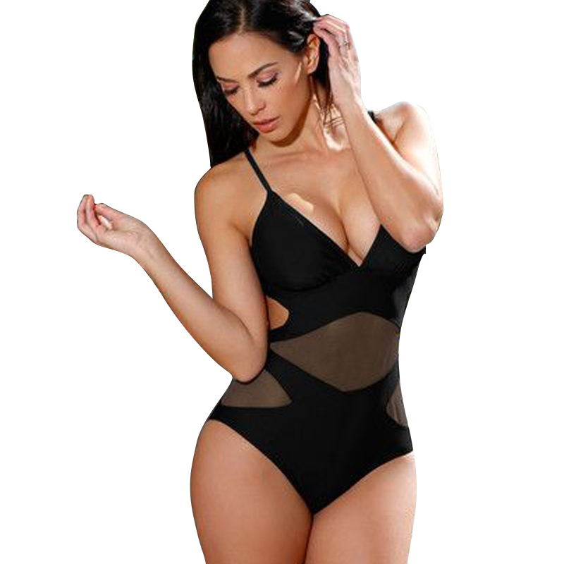 2017 One Piece Swimsuit Mesh Swimwear Push Up High Waist Monokini Mesh One Piece Bathing Suit Black Mesh Monokini Trikini Women