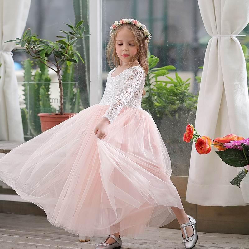 Girl Princess Dress Ankle Length Wedding Party Dress Eyelash Back White Lace Beach Dress Children Clothing E15177