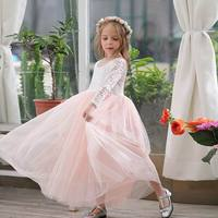 Girl Princess Dress Ankle Length Wedding Party Dress Eyelash Back White Lace Beach Dress Children Clothing E15177