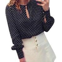 Women Casual Blouses Long Sleeves Chiffon Shirt Summer Polka Dot Top Navy L