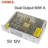 D 60W A Dual output 5V 12V Switching power supply AC to DC DC4A DC3A