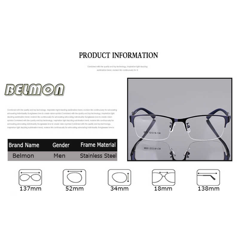 Belmon Spectacle Frame Men Eyeglasses Korean Nerd Computer Prescription Optical For Male Eyewear Clear Lens Glasses Frame RS077