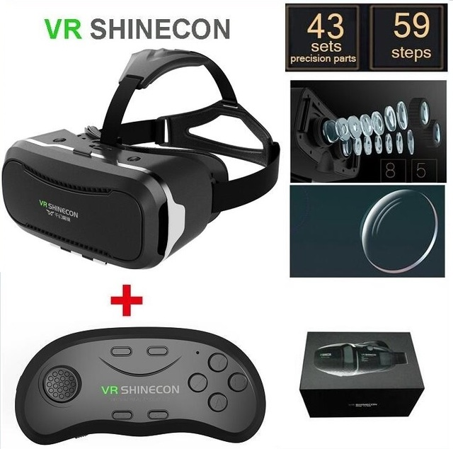 "VR Shinecon 2.0 II Helmet Cardboard Virtual Reality Mobile Phone 3D VR Glasses Video Movie for 4.7-6.0"" Smartphone with Gamepad"