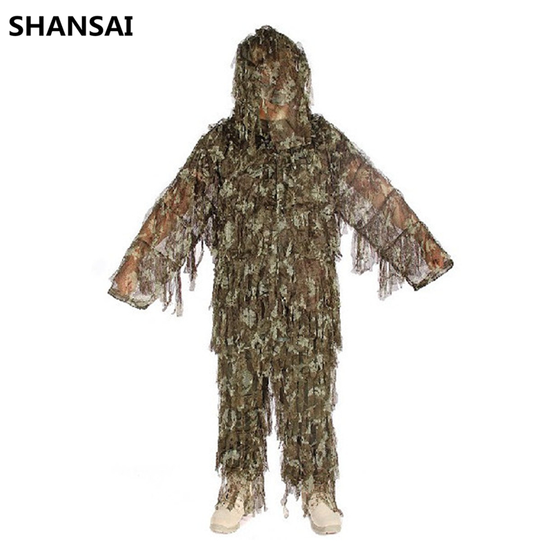 SHANSAI Battle Fatigues Bionic Ghillie Suits Camouflage Hunting Suit  Recon Paintball Airsoft  Photographing Military cs camouflage suits set bionic disguise uniform hunting woodland sniper ghillie suit hunting jungle military train cloth s049