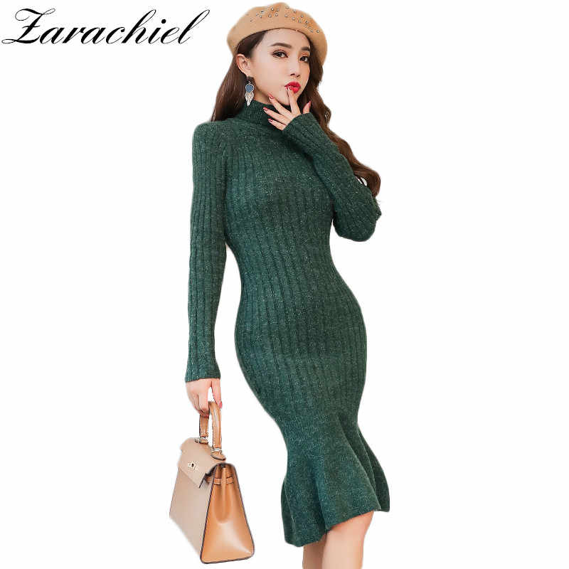 54fbbb33 Detail Feedback Questions about Zarachiel Turtleneck Long Knitted Sweater  Dress 2019 Winter Women High Neck Warm Thick Pullover Bodycon Sheath  Mermaid Dress ...