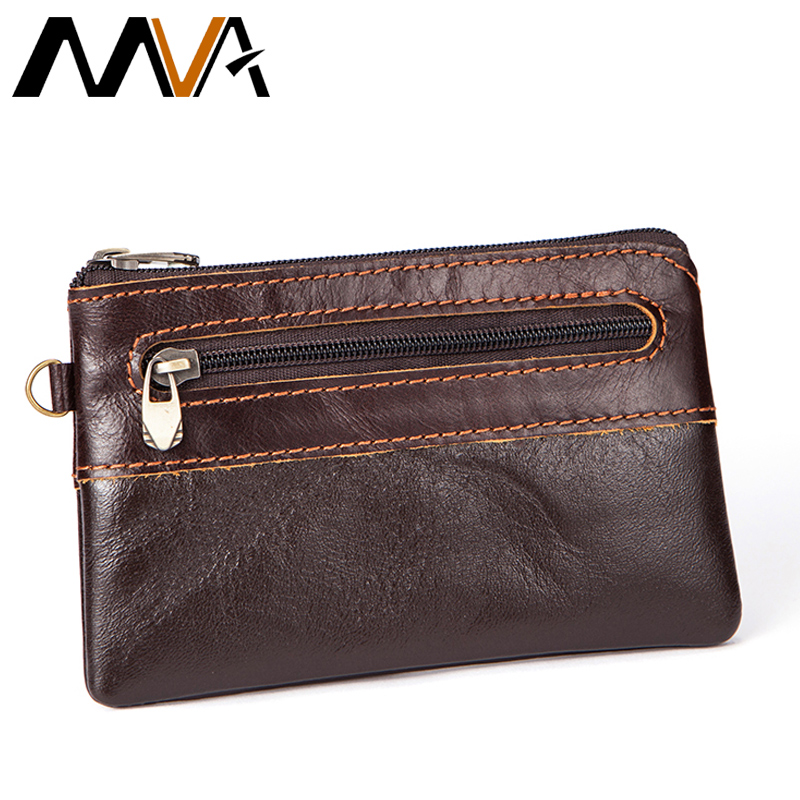 MVA Genuine Leather Wallet Men Coin Purse Zipper Short Wallets Male Purse Photo Card Holder Small Men's Leather Mini Wallets