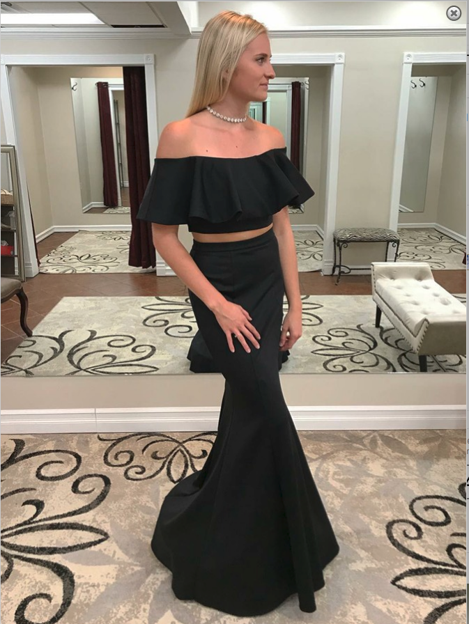 DZW325 Two Pieces Black Long Elegant Evening Dress Sexy Gown Formal Party Dress Prom Special Occasion Open Neck Mermaid Dress