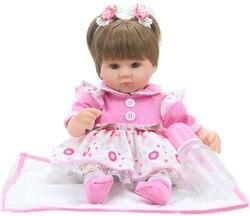 Boneca Bebe 40cm silicone renascimento renascimento 16 polegada baby doll bouquet boneca de brinquedo macio atividade brinquedo do vinil menina recém-nascidos