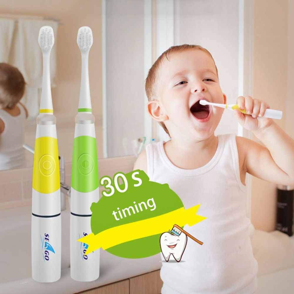 Seago Acoustic Wave Children Electric Toothbrush With 3 Brush Head Intelligent LED Light Oral Dental Care Sonic Toothbrush l pack 380 led light mirror pick dental oral care kit light blue