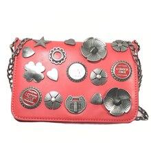 ALIEME Handbags women shoulder bags women chain bag crossbody bags vintage red badge women pu leather handbag vintage bolsos 13