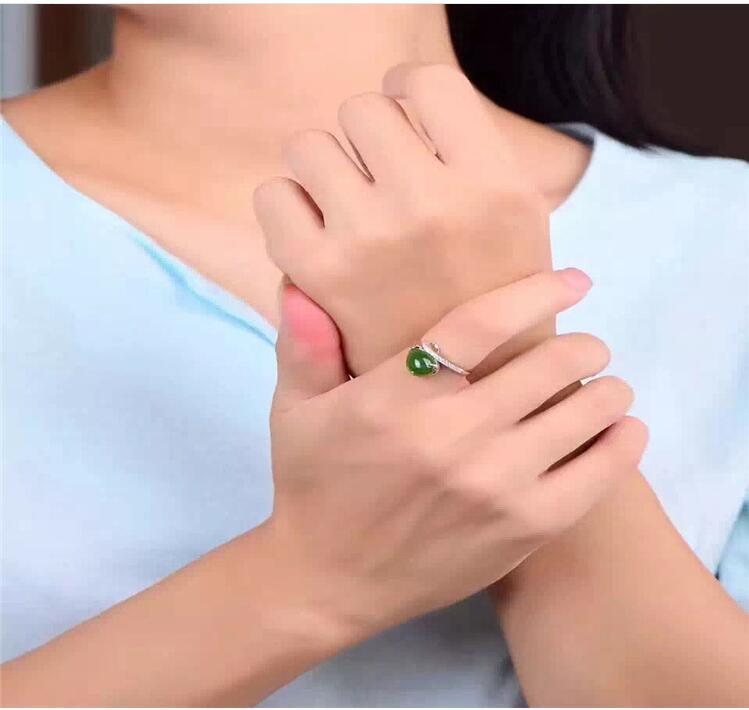 где купить Free shipping Woman Ring Natural Hetian Jasper Ring 925 sterling silver Ring Wholesales Fine jewelry Gem Size 8*11mm по лучшей цене