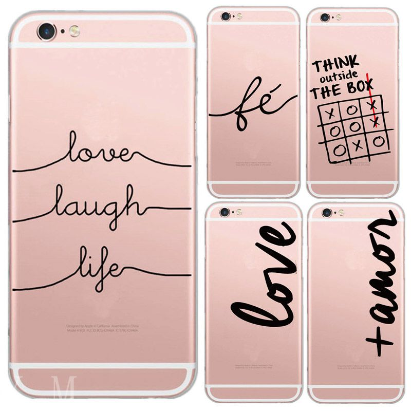 For iphone 6 6s Plus 6Plus 4 4s 5C 5 5s SE Unique Portuguese Words Love Amor Design Transparent Soft Silicon Phone Case Cover