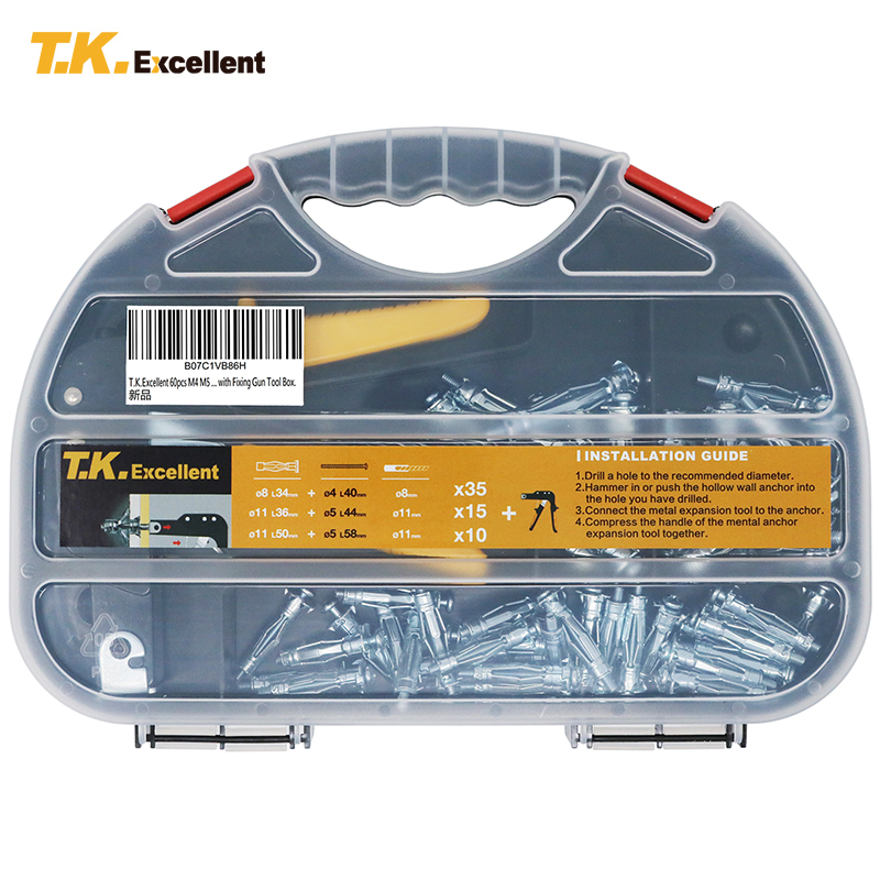 T.K.EXCELLENT Hollow Wall Anchor Set Carbon Steel And Aluminum Alloy M4 M5 Tool Box 8mm 11mm With Anchor Gun Sold SeparatelyT.K.EXCELLENT Hollow Wall Anchor Set Carbon Steel And Aluminum Alloy M4 M5 Tool Box 8mm 11mm With Anchor Gun Sold Separately