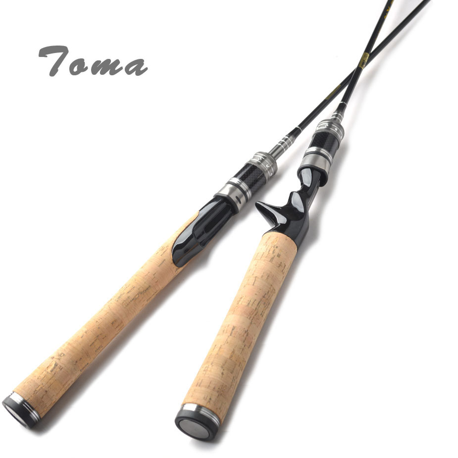TOMA Carbon Fiber Fishing Rods Spinning Lure Rod 2 Section 1.8m 602UL Travel Rod Casting Lure Weight 0.8-5g Solid Carbon Tip tsurinoya 1 89m ul carbon casting rod 0 6 8g lure weight ultralight spinning fishing rods 2 sections lure fishing rods baitcast