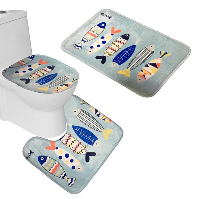 Bath Mat 1 Set 3 Piece Fishes Toilet Rug Bathroom Contour Cover Carpet And