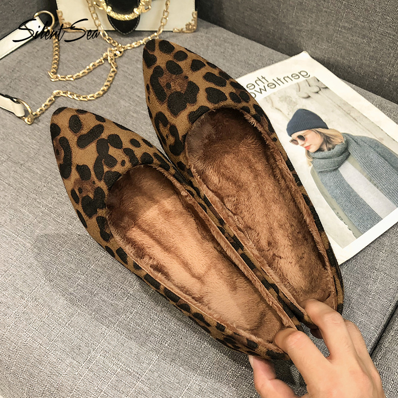 Silentsea 2019 Spring Shoes Women Larger Sizes 34-43 Flats Loafers Shoes Pointed Toe Shallow Mouth Slip-on Ladies Loafer Leopard(China)