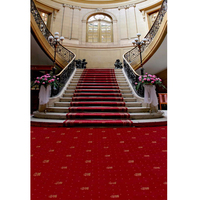 Interior Palace Staircase Wedding Party Themed Photography Backdrop Red Carpet Pink Flowers Window Wall Photo Studio Backgrounds