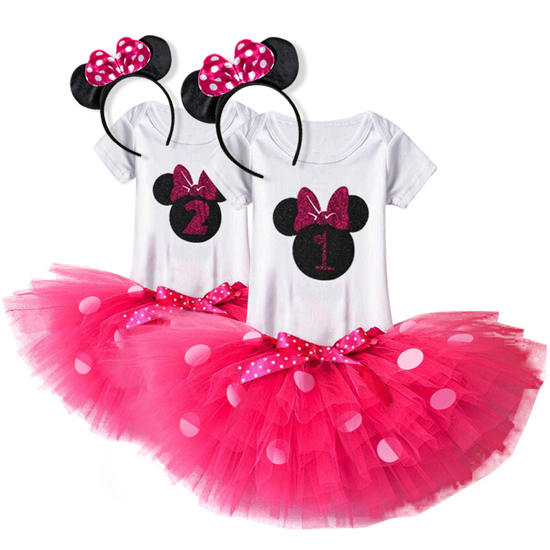 Little Baby Girls Clothes 1 Year Birthday Party Bebes Clothing Children Outfits Romper+Tutu+Headband Dresses for 1st Birthday