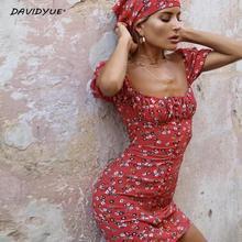 Yaz bayan elbiseler Vintage kare yaka çiçek mini elbise kore yüksek bel şifon plaj elbiseleri boho vestidos