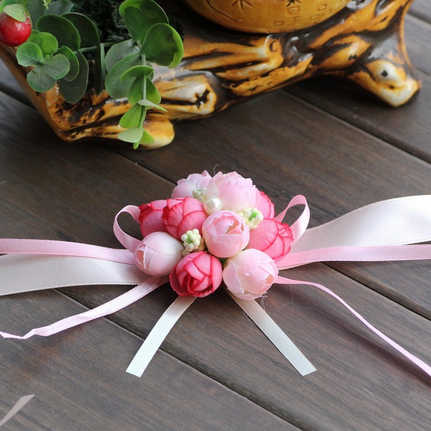 Wrist Flower Rose Silk Ribbon Bride Corsage Hand Decorative Wristband Bracelet Bridesmaid Curtain Band Clip Bouquet