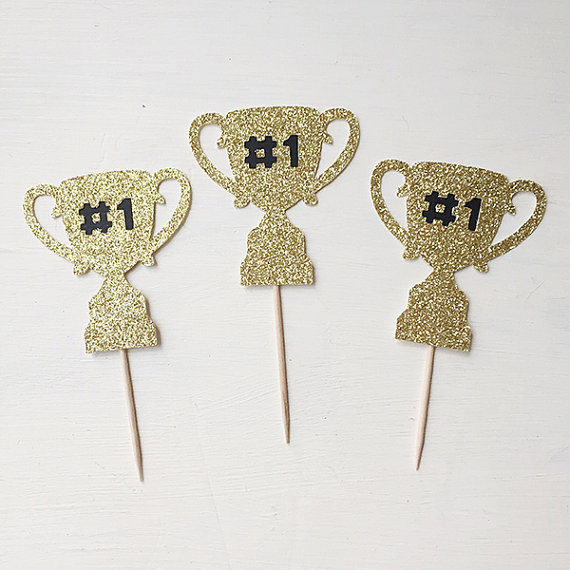 Gold Glitter Awards Trophy Number One 1 CupcakeToppers Congratulations, Celebratory You Did It Father's Day Party  food picks