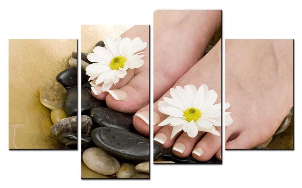 4 picture Canvas Photo Prints Spa Nail Foot Massage Wall Art Picture Canvas Paintings Wall Decorations Painting