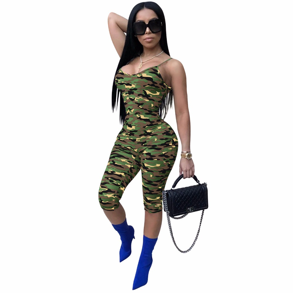 New Arrival 2019 Summer Women Bodycon   Jumpsuits   Sexy Spaghetti Strap Camo Print Rompers Female Slim Streetwear   Jumpsuits